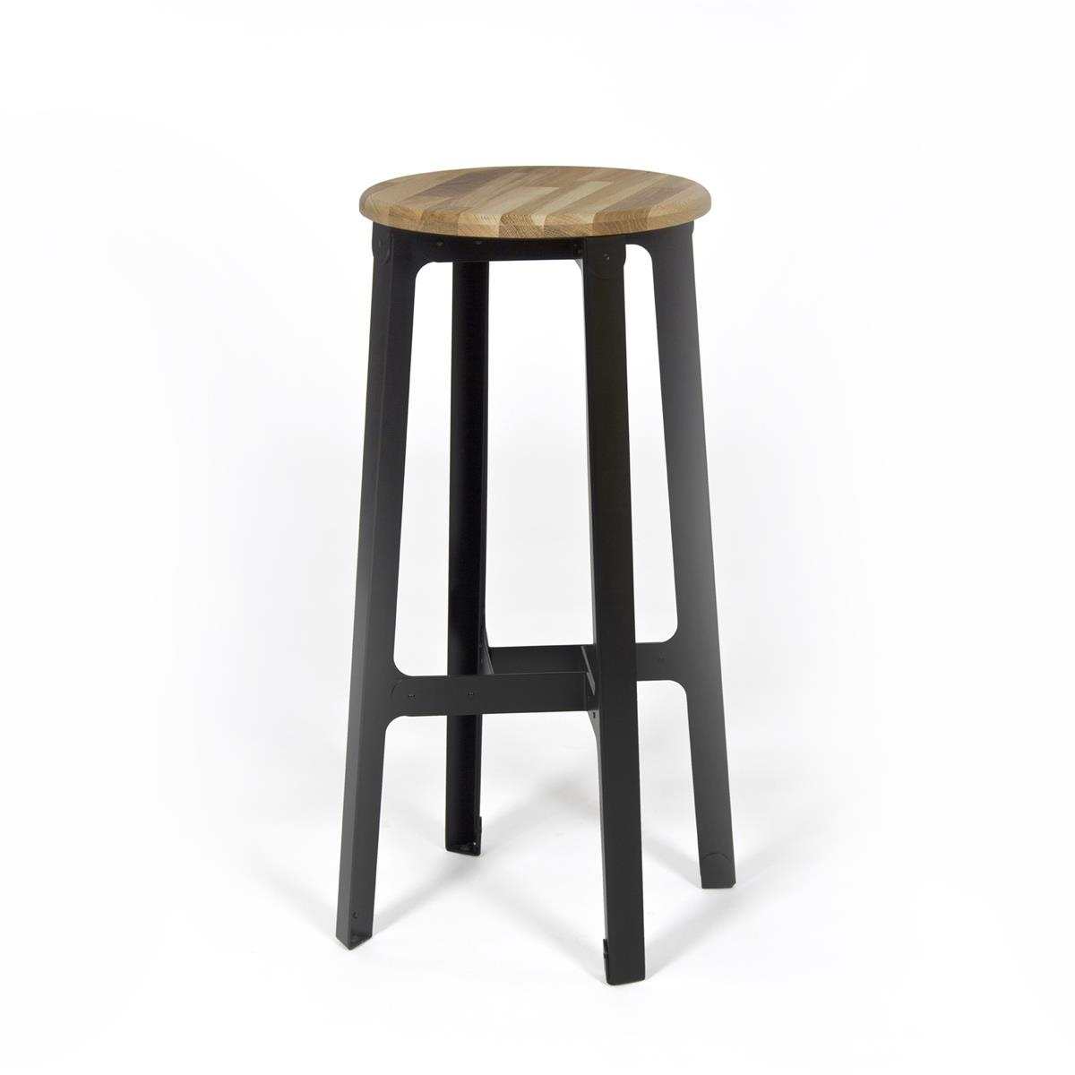 Construct Bar Stool - Oak & Jet black