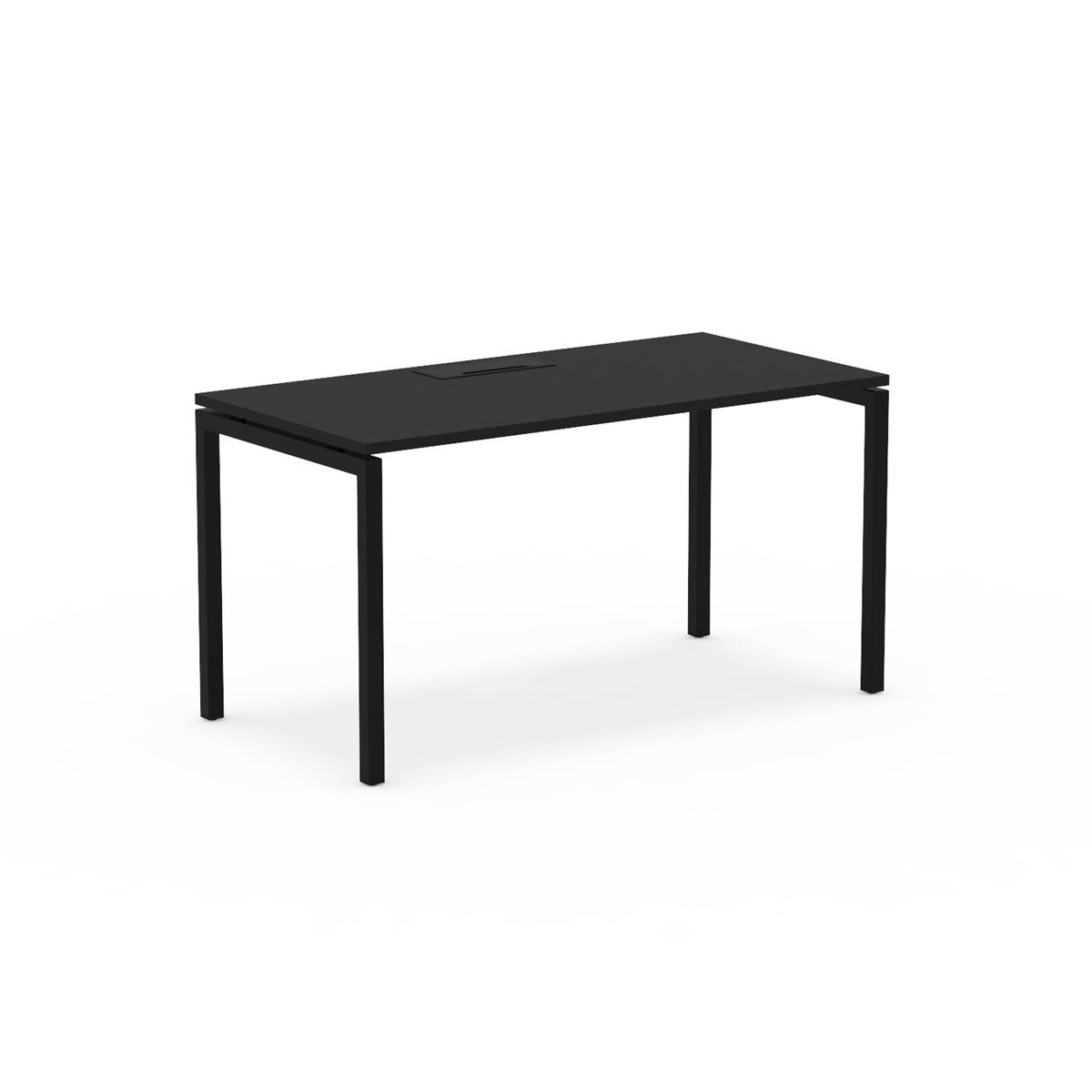 U1 Plane Table 140 x 70 - sort linoleum & kabelhåndtering