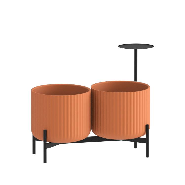 Klorofyll Double Low Base & Medium Concrete Terracotta Planters with Round Table