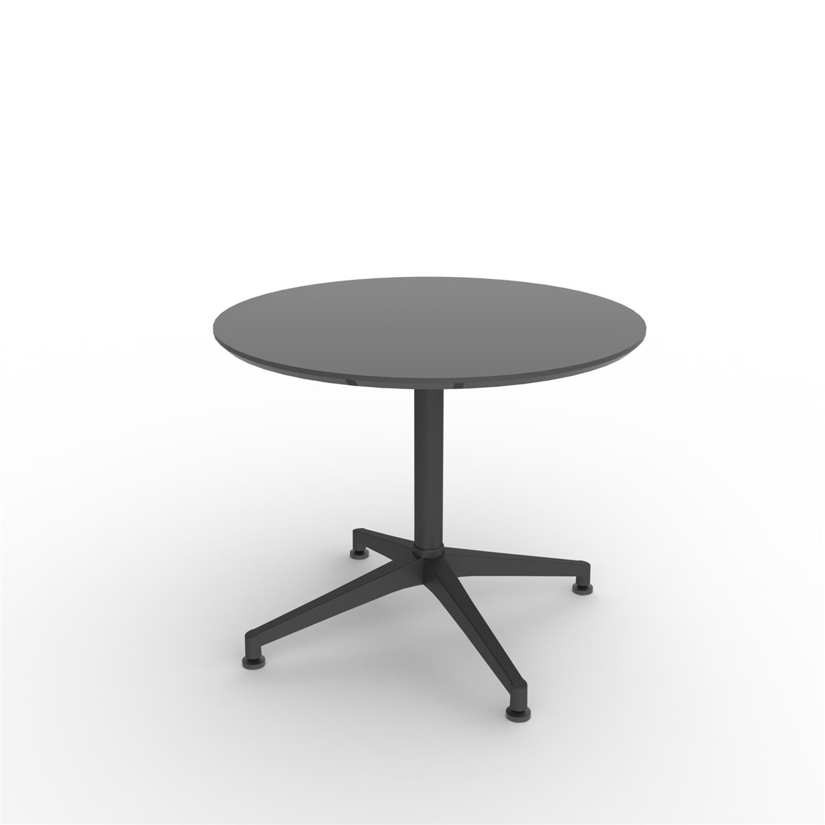 X1 Seamless Folding Table Ø90 cm - sort linoleum med sort ramme