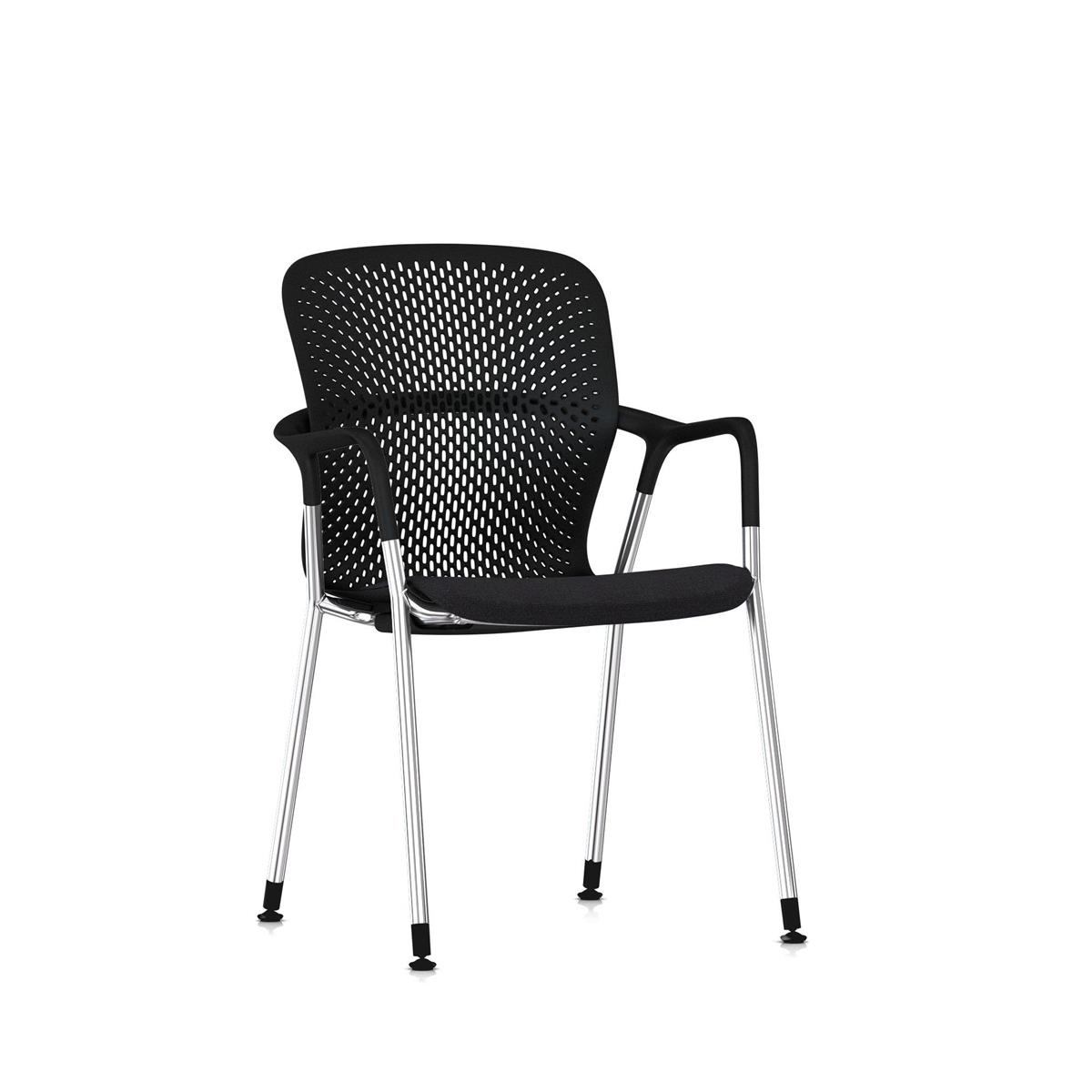 Keyn 4 Leg Armchair Chrome & Black - Camira Sprint tekstil og glidere