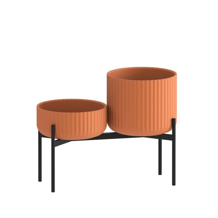 Klorofyll Double Medium Base & Low + Medium Concrete Terracotta Planters