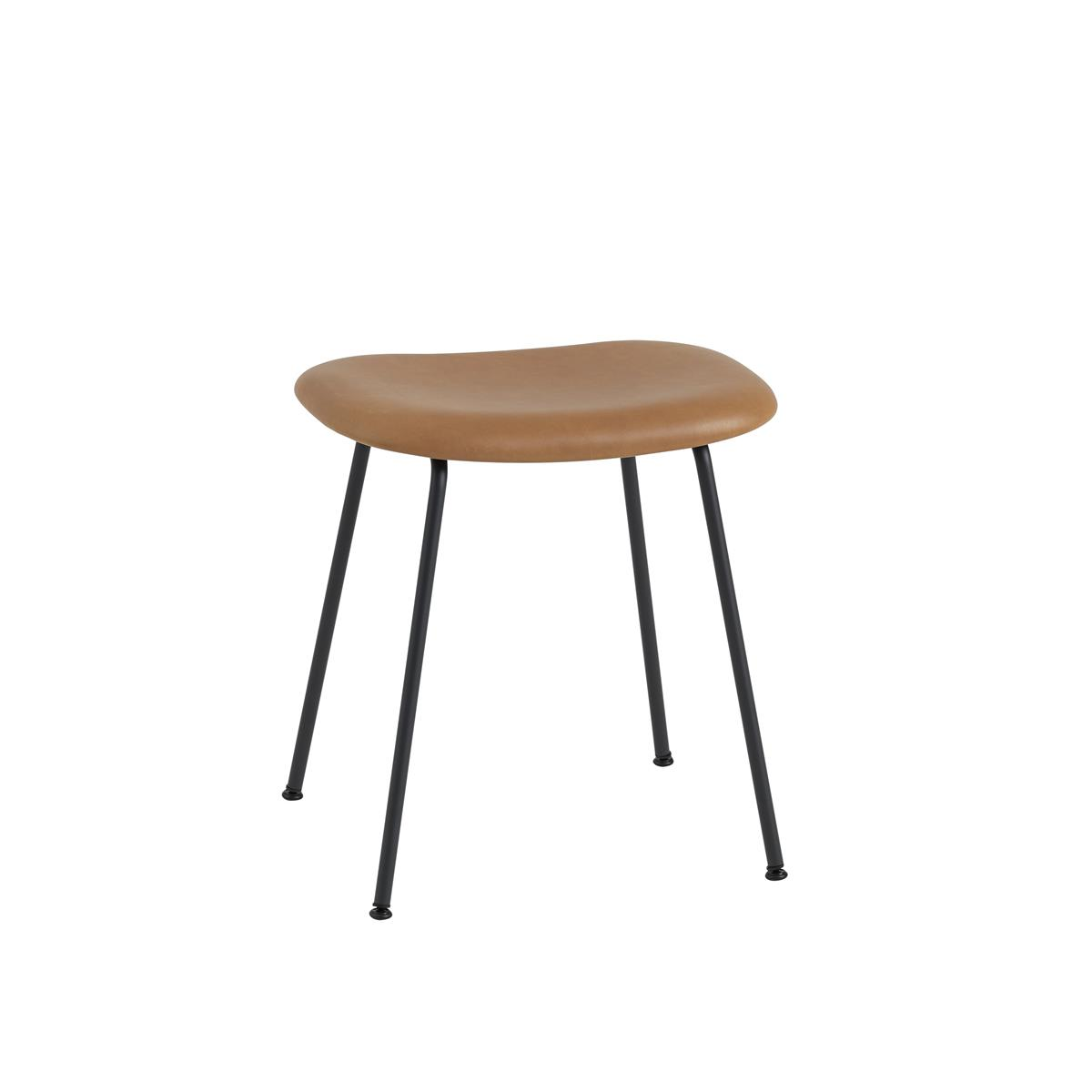 Fiber Stool Tube Base H45 - Cognac Silk Leather & Black
