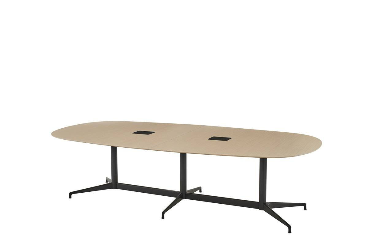 Civic Table Oval 320 x 120 - Ash veneer & Black with Access flaps