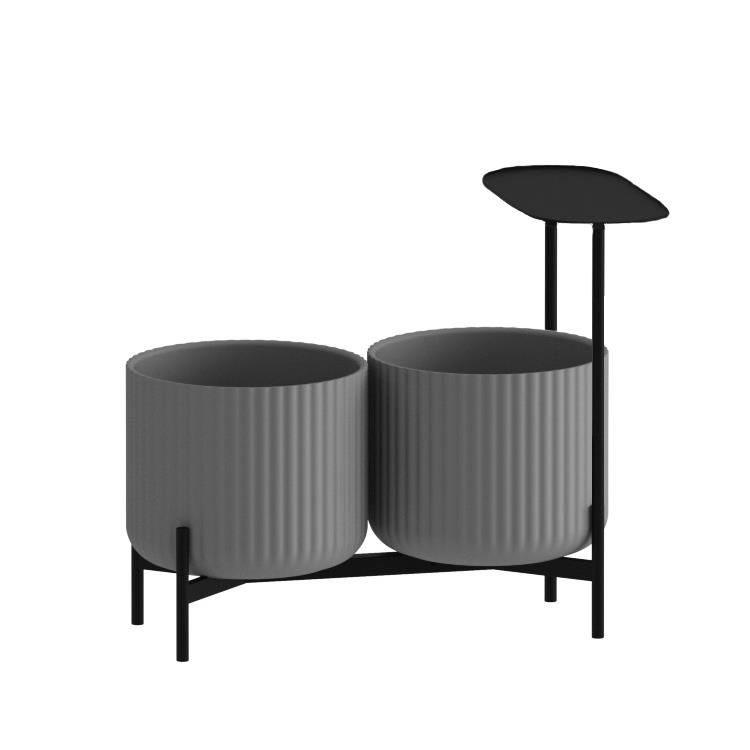 Klorofyll Double Low Base &  Medium Concrete Planters with Oval Table