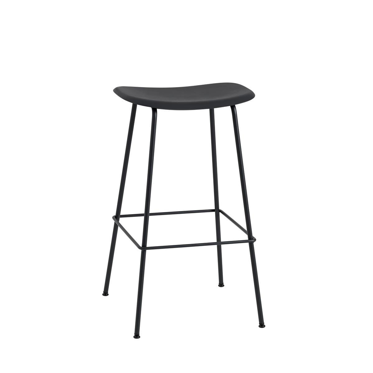 Fiber Bar Stool / Tube Base H75 - Black