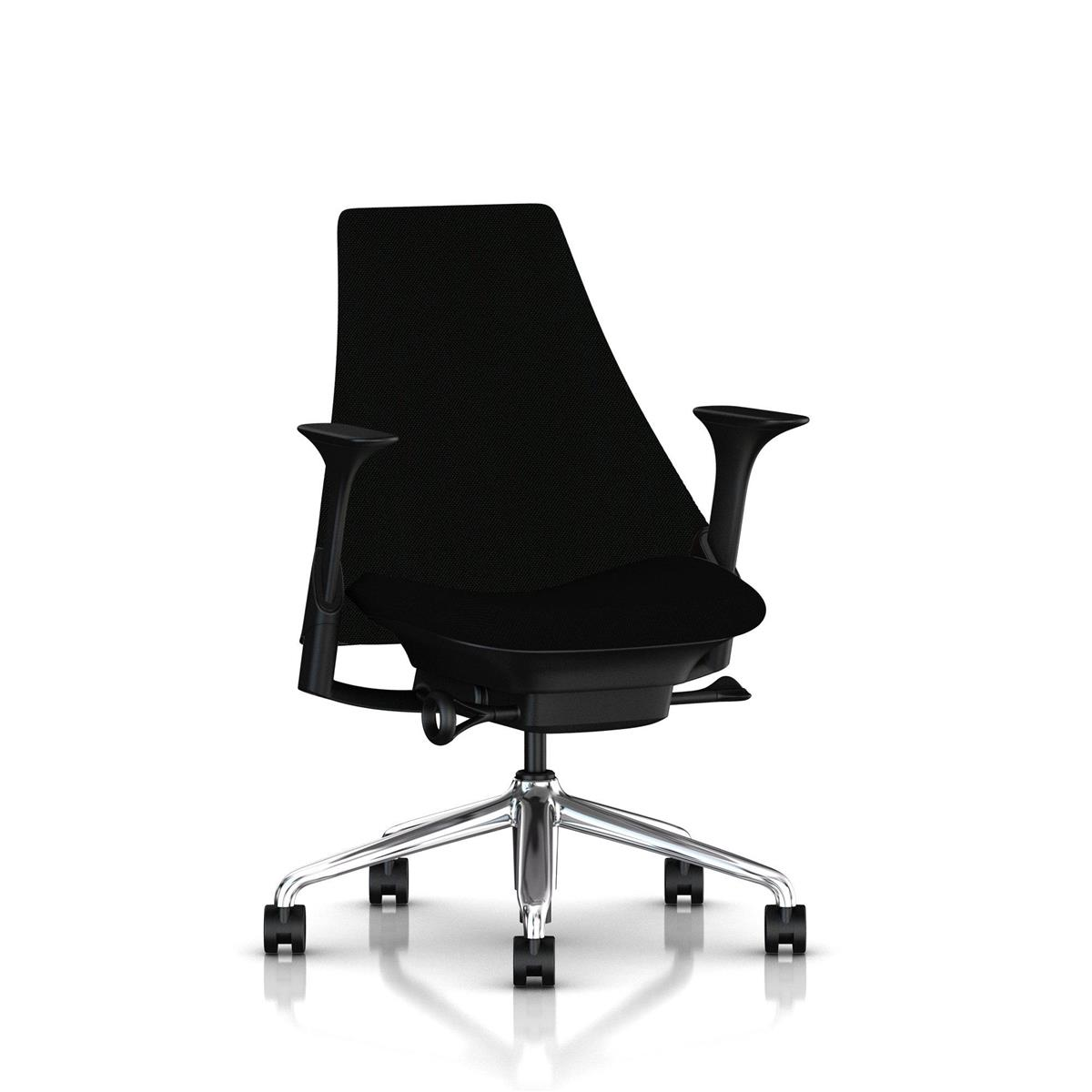 SAYL Mid Back Upholstered - Polished Alu & Black med Unity tekstil