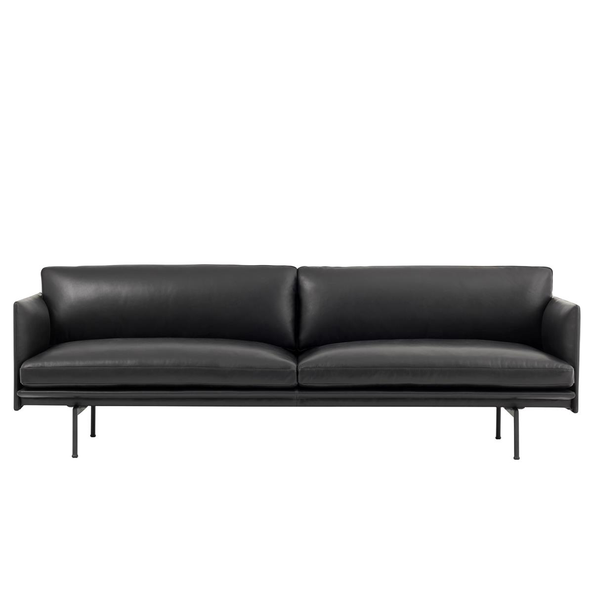Outline Sofa 3 Seater - Black Silk Leather & Black