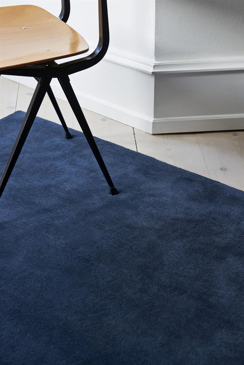 RAW RUG NO 2 MIDNIGHT BLUE. L2400 X W1700. MATERIAL WOOL/COTTON BACKING