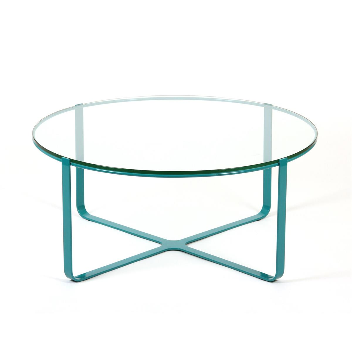 Trace Circular Table Ø60 x H35 - Pastel Blue & glass