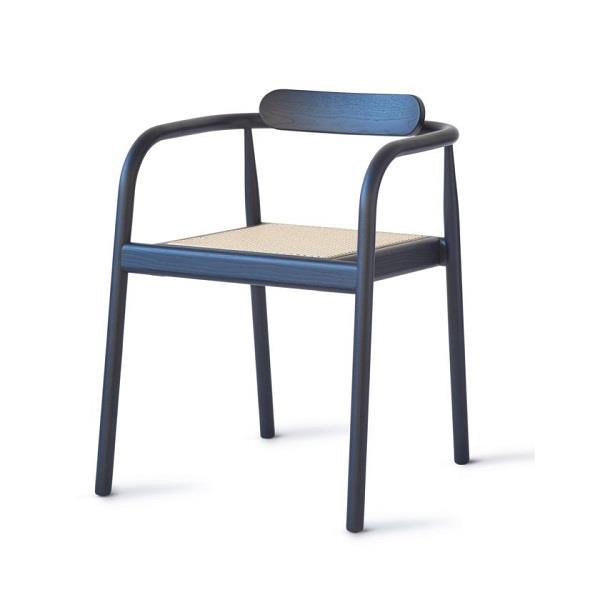 AHM Chair. Stained Ash. Navy Blue. Cane Rattan Seat.