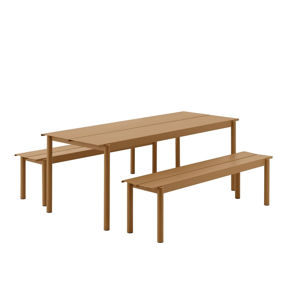 Linear Steel Table 200 x 75 med 2 Stk. Linear Steel Bench L:170. Burnt Orange.