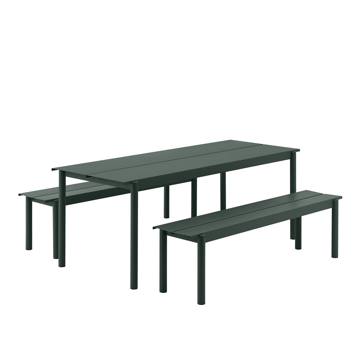 Linear Steel Table 200 x 75 med 2 Stk. Linear Steel Bench L:170. Dark Green.