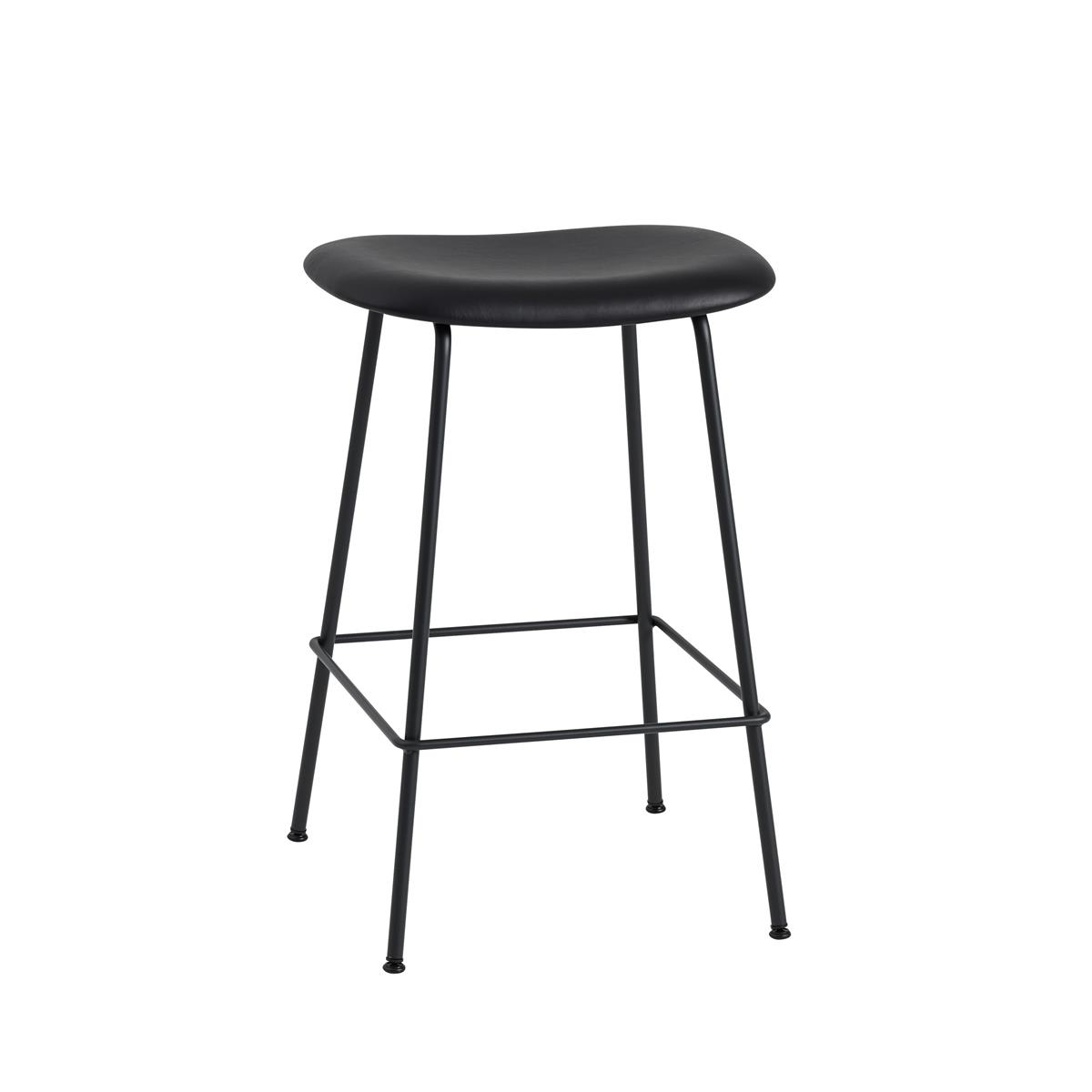 Fiber Bar Stool / Tube Base H65 - Black Silk Leather & Black