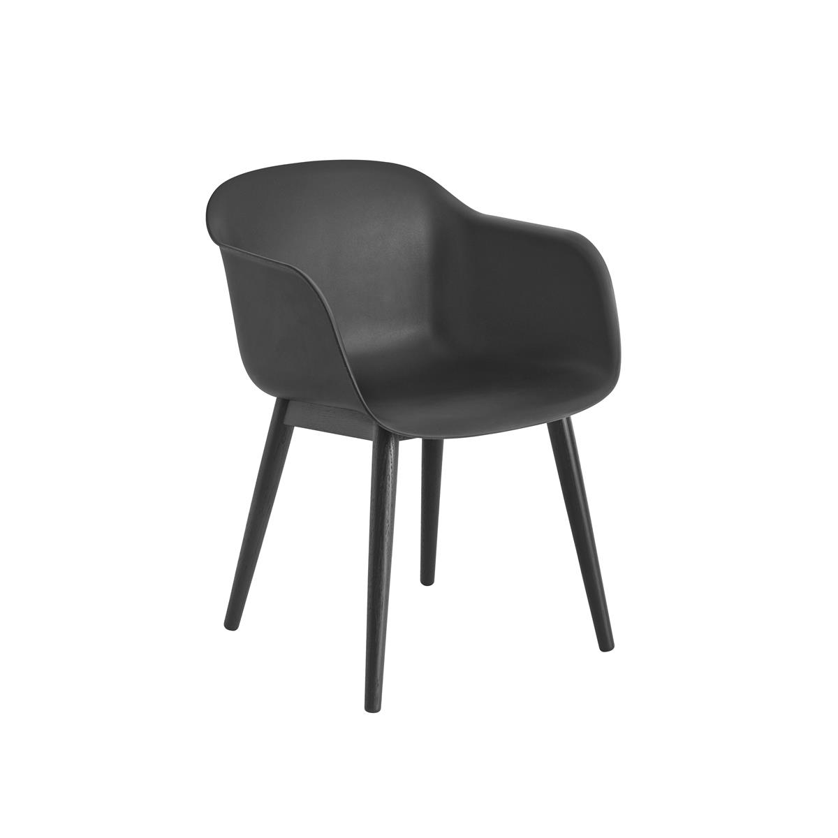 Fiber Armchair Wood base - Black & Black
