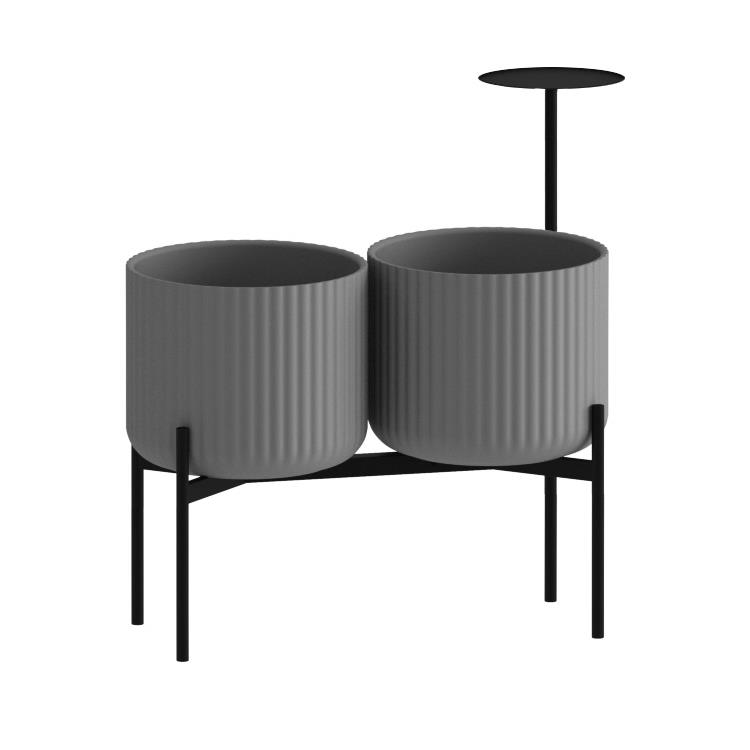 Klorofyll Double Medium Base & Medium Concrete Planters with Round Table