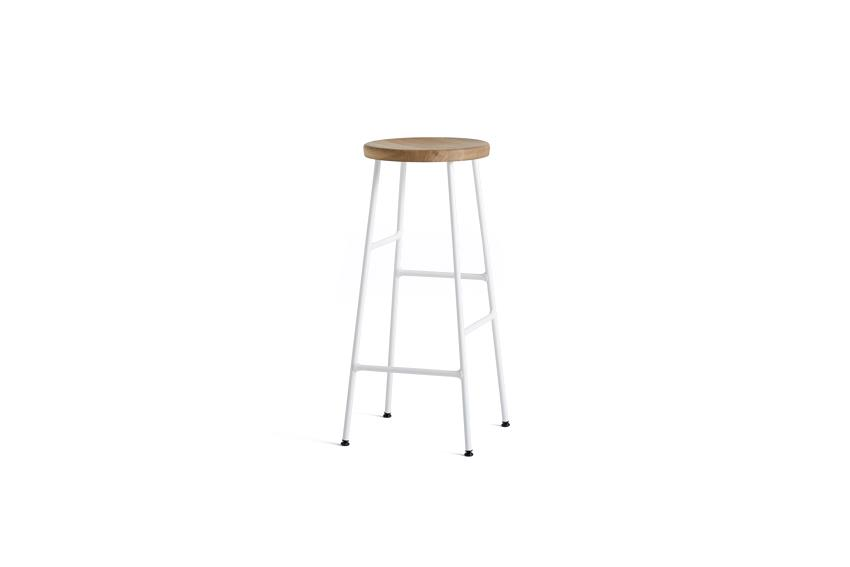 Cornet Bar Stool H75 - Oiled Oak & Cream White