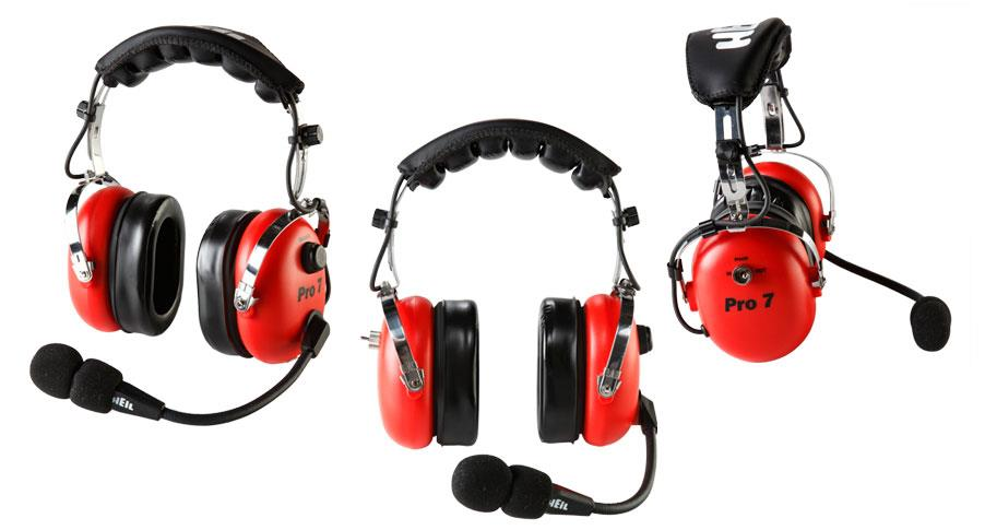 Pro 7 ICRD Heil Industrial headset m/elec. mic(w/AD-1-IC)RED