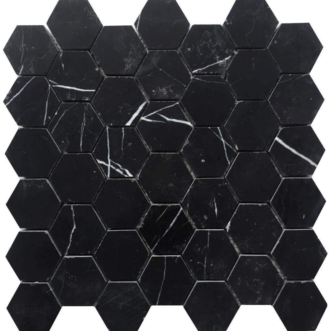 Nero marmor hexagon polert 4,8x4,8x1 cm
