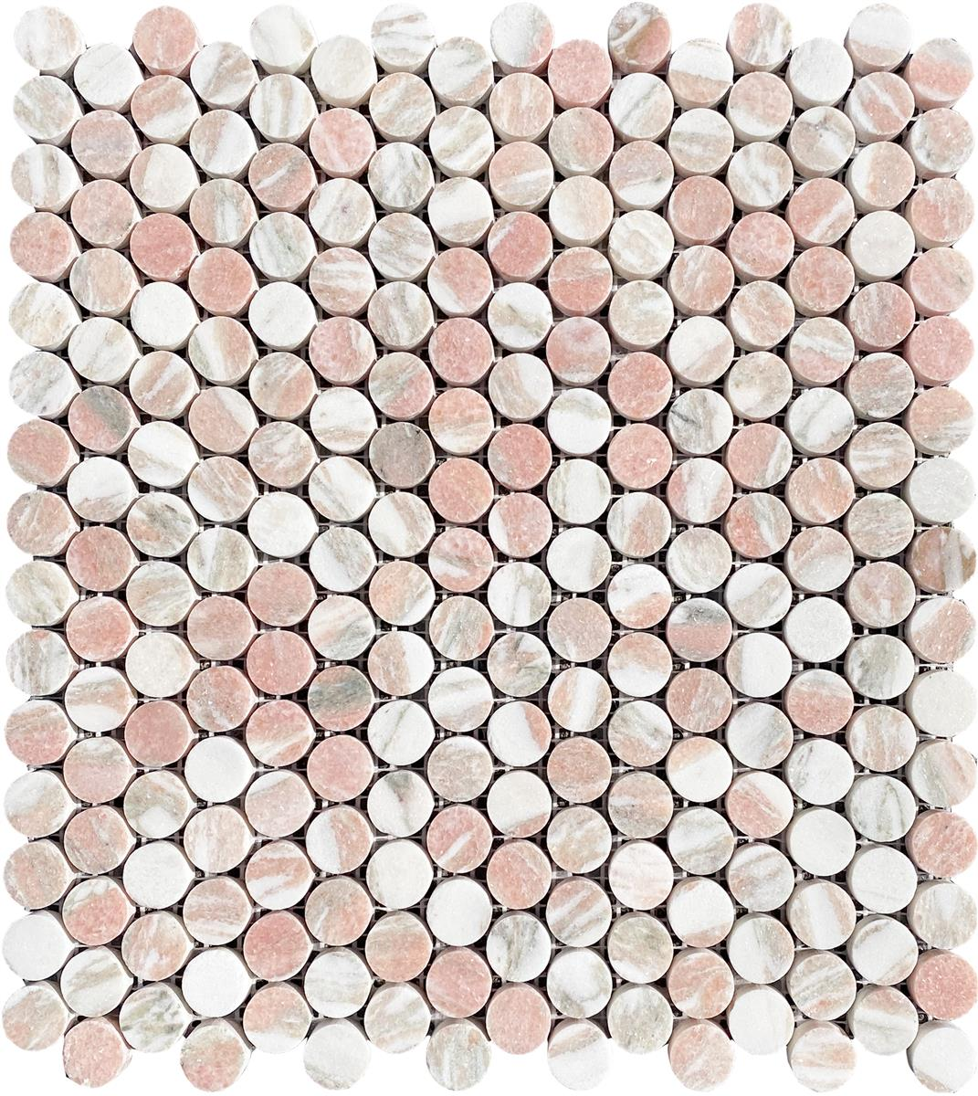 Norsk Rosa Marmor Coins Mosaic
