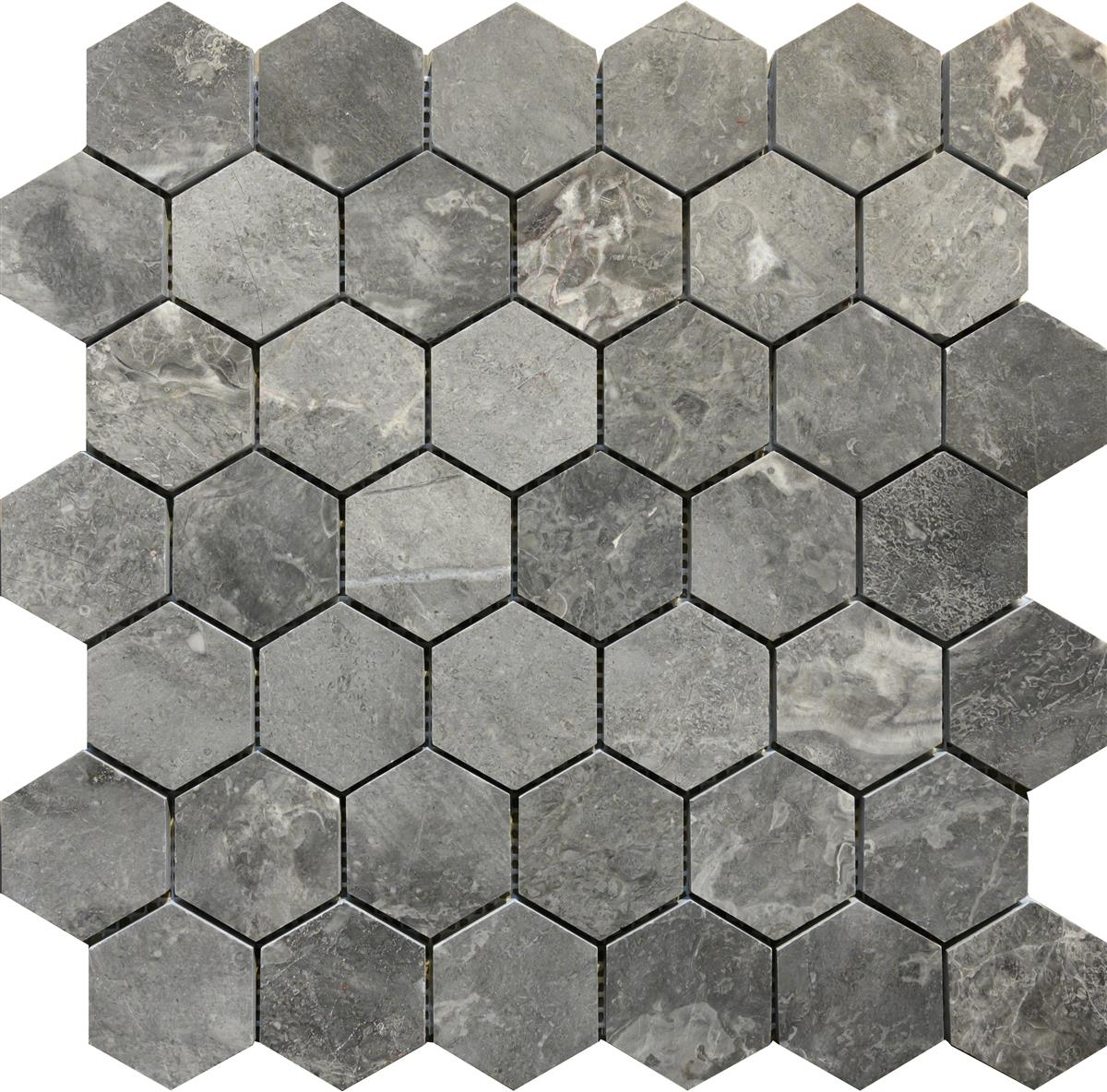 Roma Grey Marmor Hexagon 4,8x4,8x1 cm