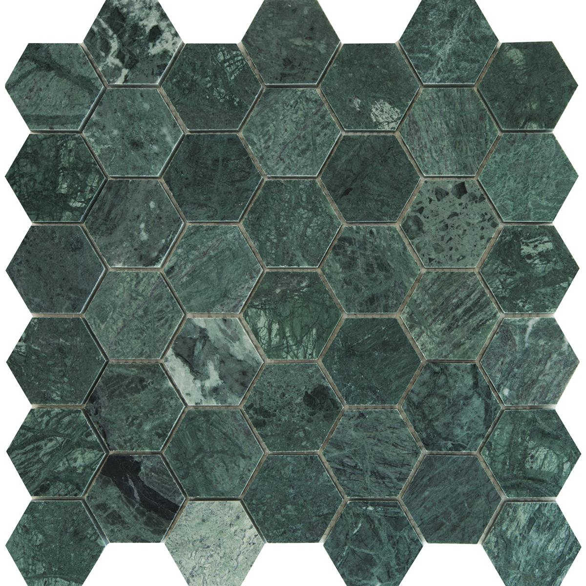 Indian Green Marmor Hexagon 4,8x4,8 cm