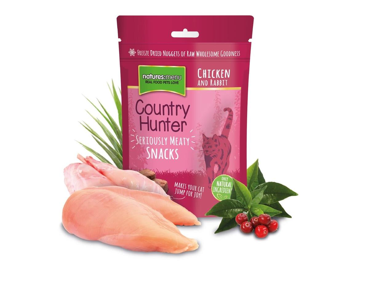 NM Frysetørket Snacks Country Hunter Katt Kanin 40g (10stk) Rosa
