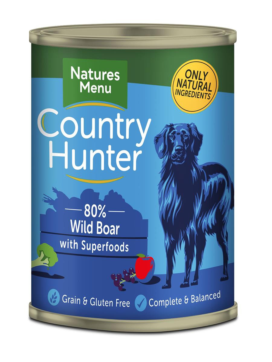 NM Boksemat Hund Country Hunter 80% Villsvin 400g (6stk) Blå