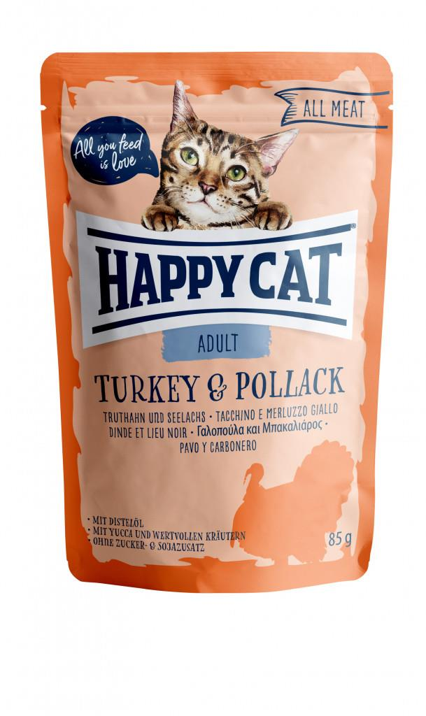 Happy Cat Pouches Adult Kalkun & Sei 85g (24stk)