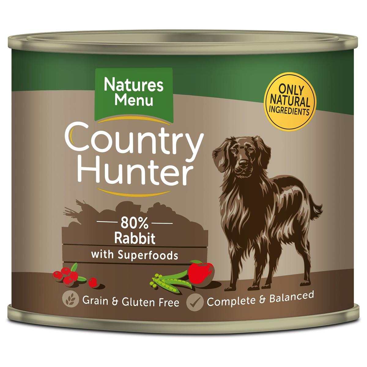 NM Boksemat Hund Country Hunter 80% Kanin & Tranebær 600g (6stk) Brun