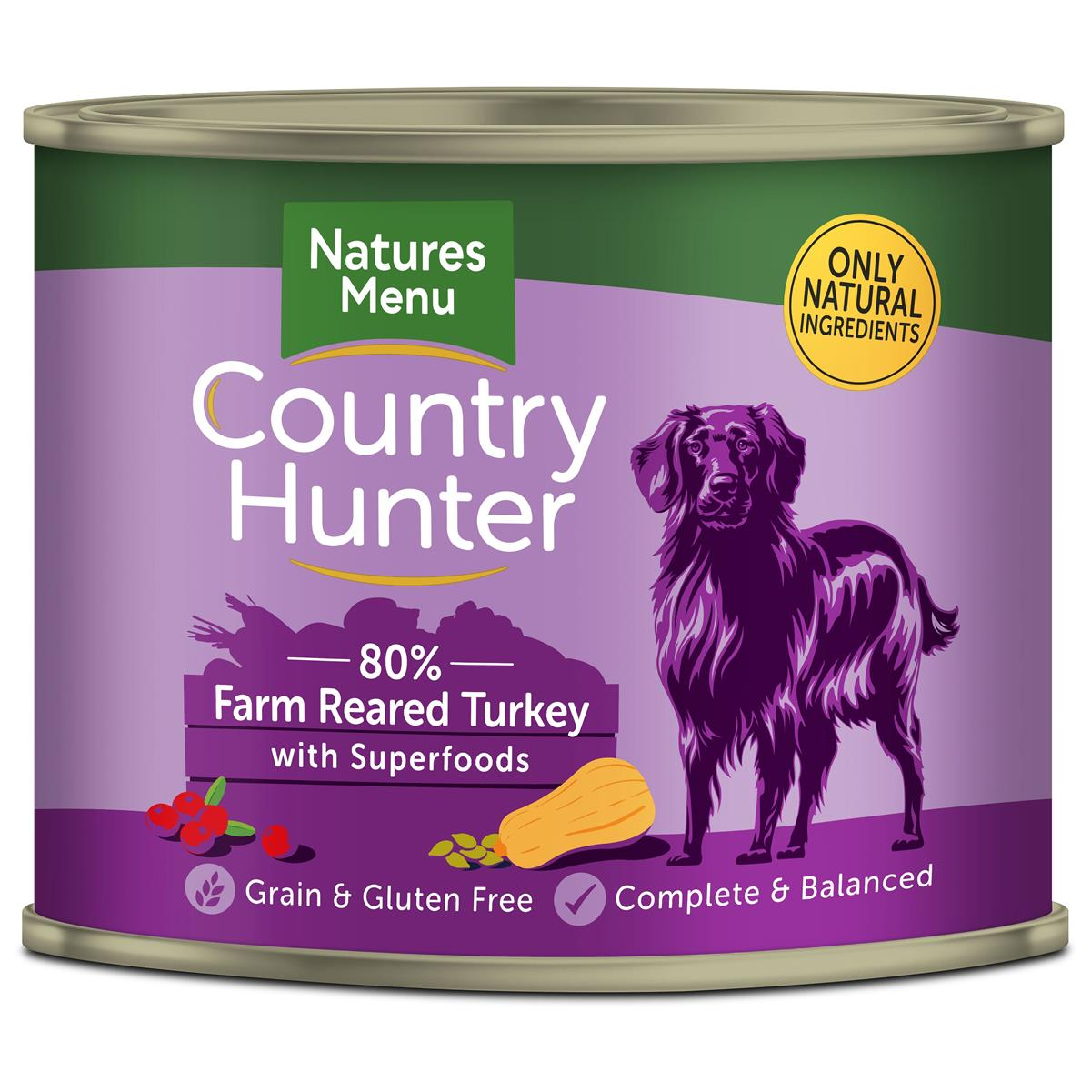 NM Boksemat Hund Country Hunter 80% Kalkun 600g (6stk) Lyselilla