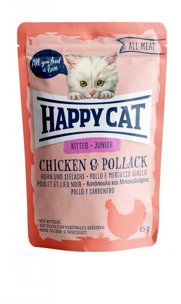Happy Cat Pouches Kitten/Junior Kylling & Sei 85g (24stk)