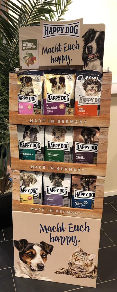 Display Komplett Happy Dog M/36stk 1 Kg Standard Large M/3 Hyller