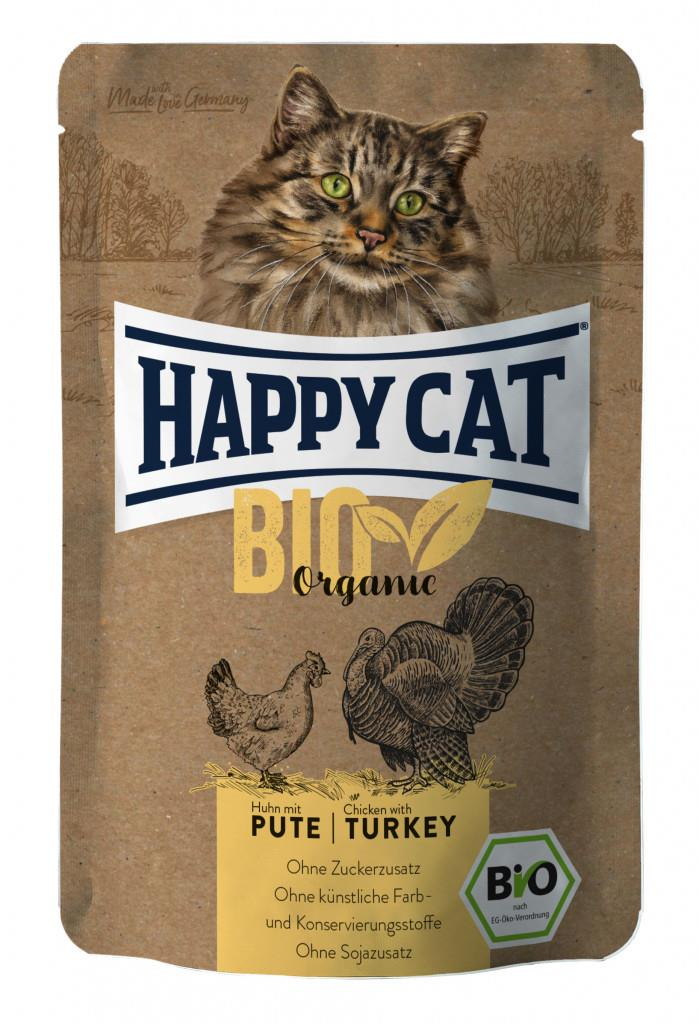 Happy Cat Pouches Adult Bio Kylling & Kalkun 85g (12stk)