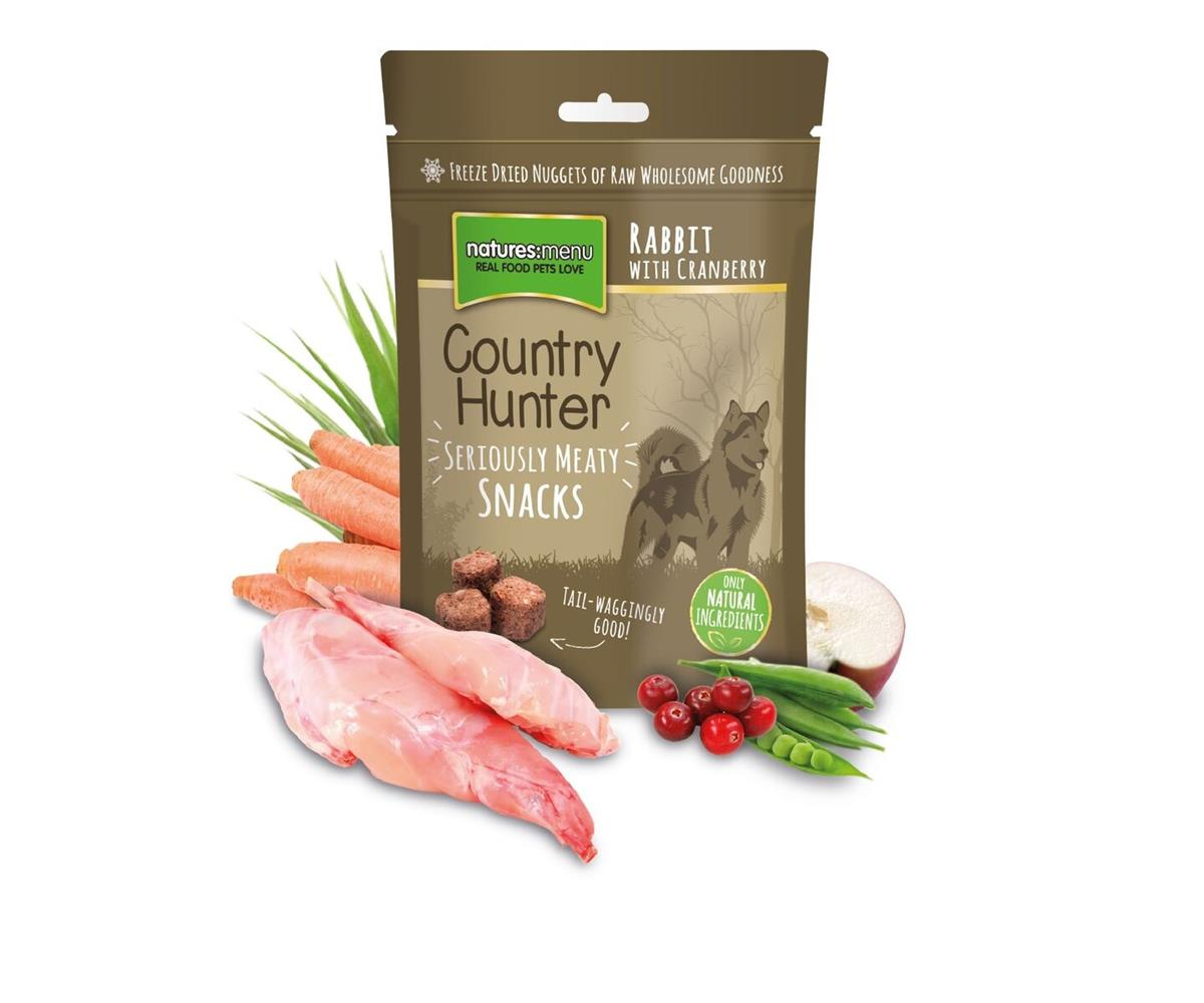 NM Frysetørket Snacks Country Hunter Hund Kanin 50g (10stk) Brun