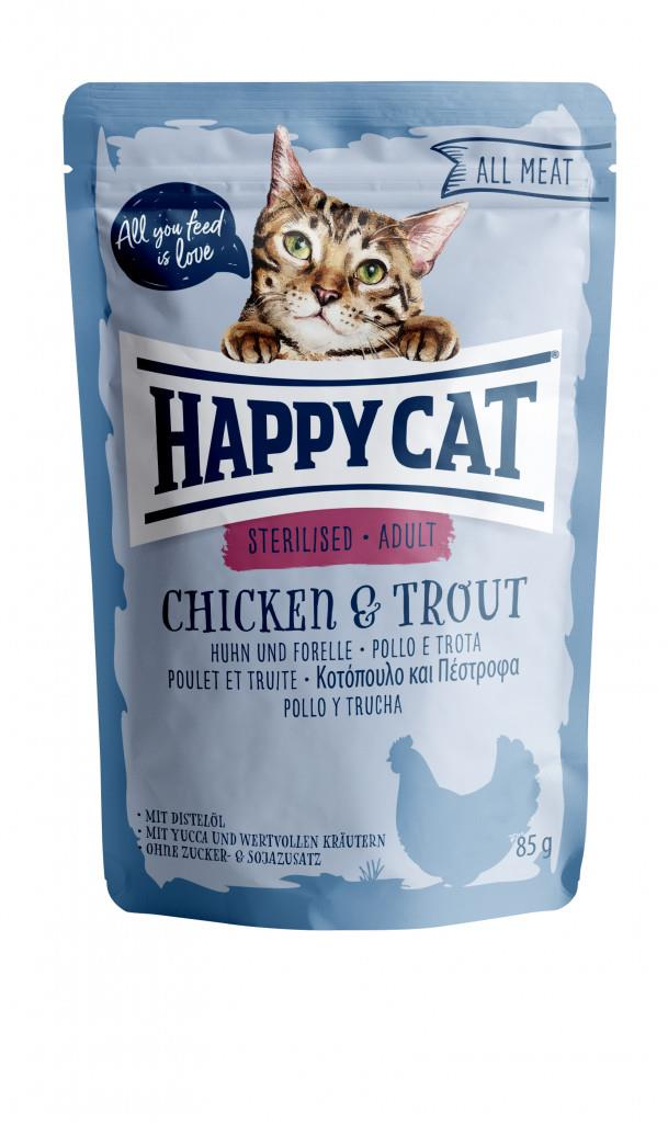 Happy Cat Pouches Adult Sterilisert Kylling & Ørret 85g (24stk)