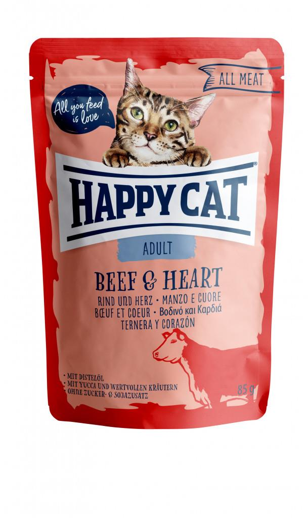 Happy Cat Pouches Adult Oksekjøtt & Hjerte 85g (24stk)
