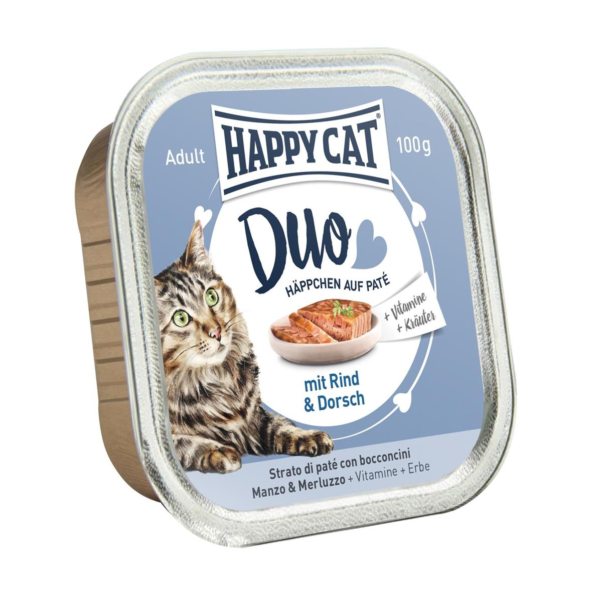 Happy Cat Duo Menu Kjøtt & Torsk 100g