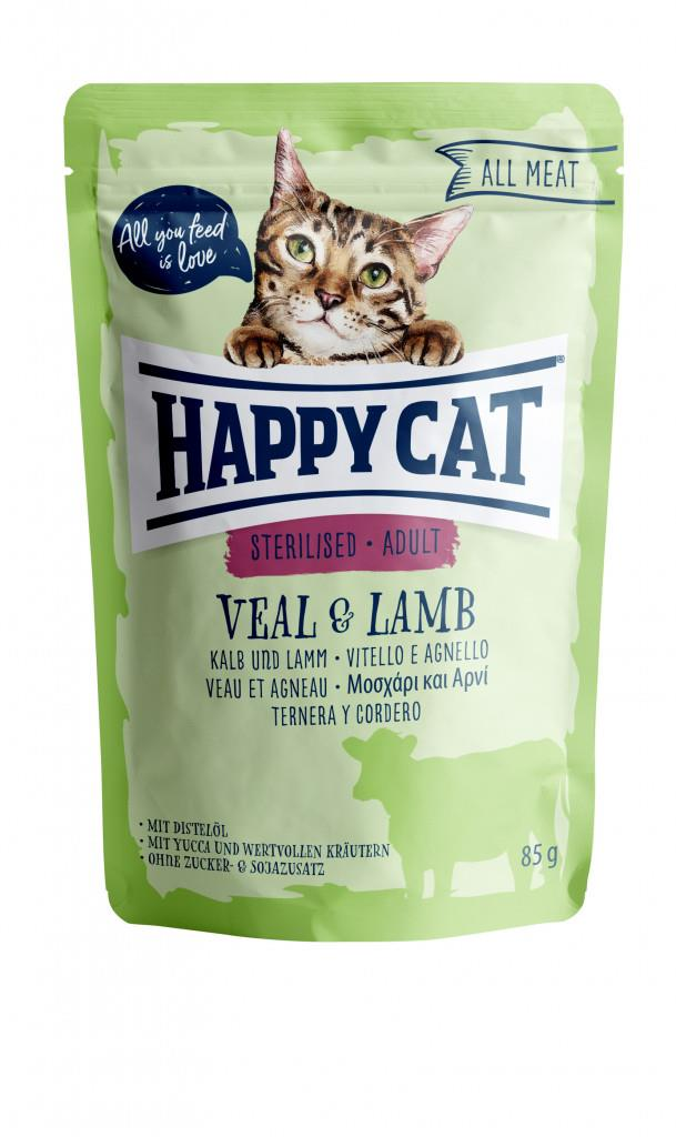 Happy Cat Pouches Adult Sterilisert Kalv & Lam 85g (24stk)