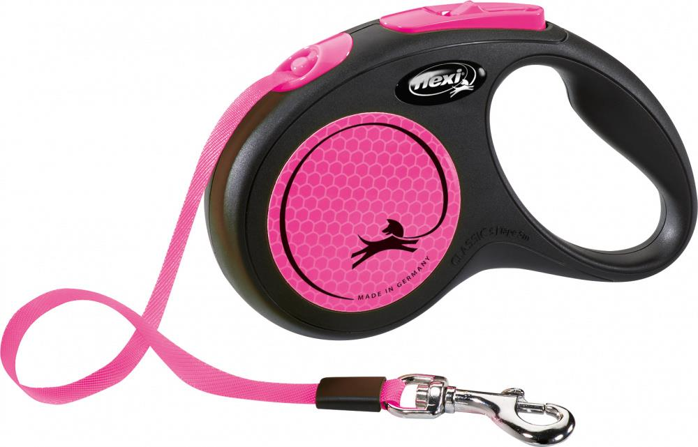 Flexi Classic New Neon Tape S 5m Sort/Neon Rosa Max 15Kg