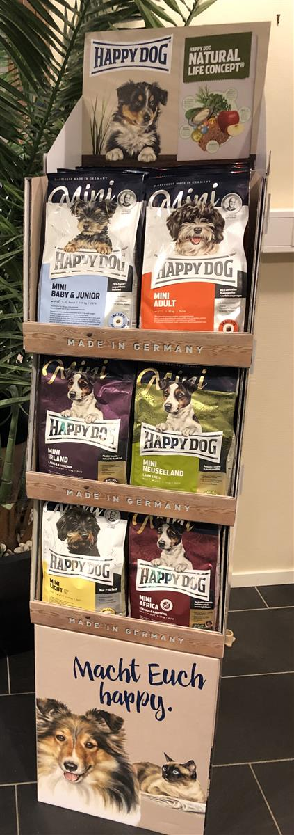 Display Komplett Happy Dog M/24stk 1 Kg Mini Small M/3 Hyller