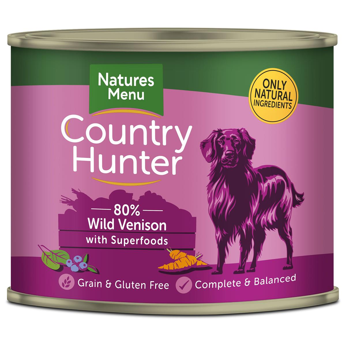 NM Boksemat Hund Country Hunter 80% Vilt & Blåbær 600g (6stk) PLOMME