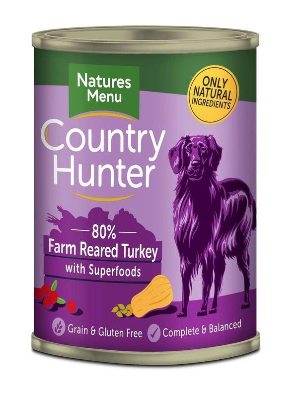 NM Boksemat Hund Country Hunter 80% Kalkun 400g (6stk) Lyselilla