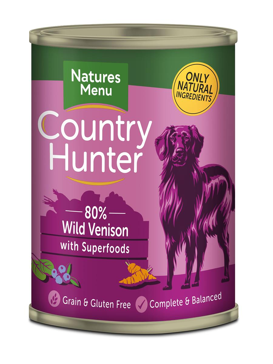 NM Boksemat Hund Country Hunter 80% Vilt & Blåbær 400g (6stk) PLOMME
