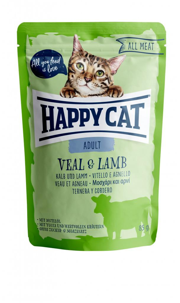 Happy Cat Pouches Adult Kalv & Lam 85g (24stk)