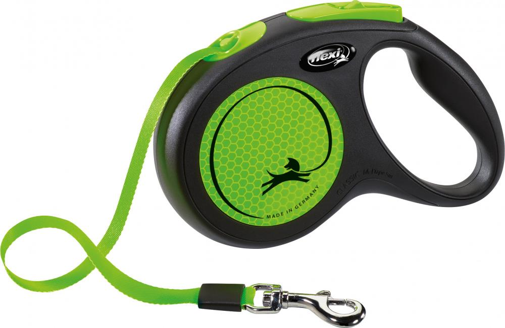 Flexi Classic New Neon Tape M 5m Sort/Neon Grønn Max 25Kg