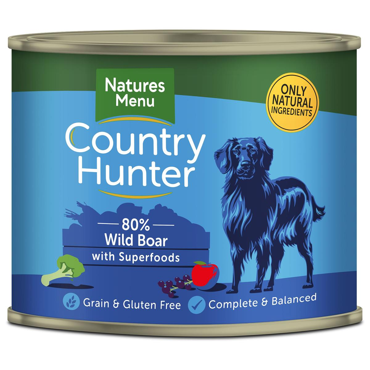 NM Boksemat Hund Country Hunter 80% Villsvin 600g (6stk) Blå