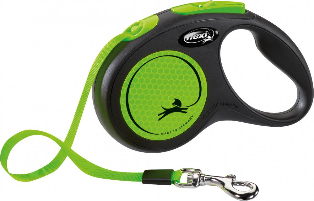 Flexi Classic New Neon Tape S 5m Sort/Neon Grønn Max 15Kg