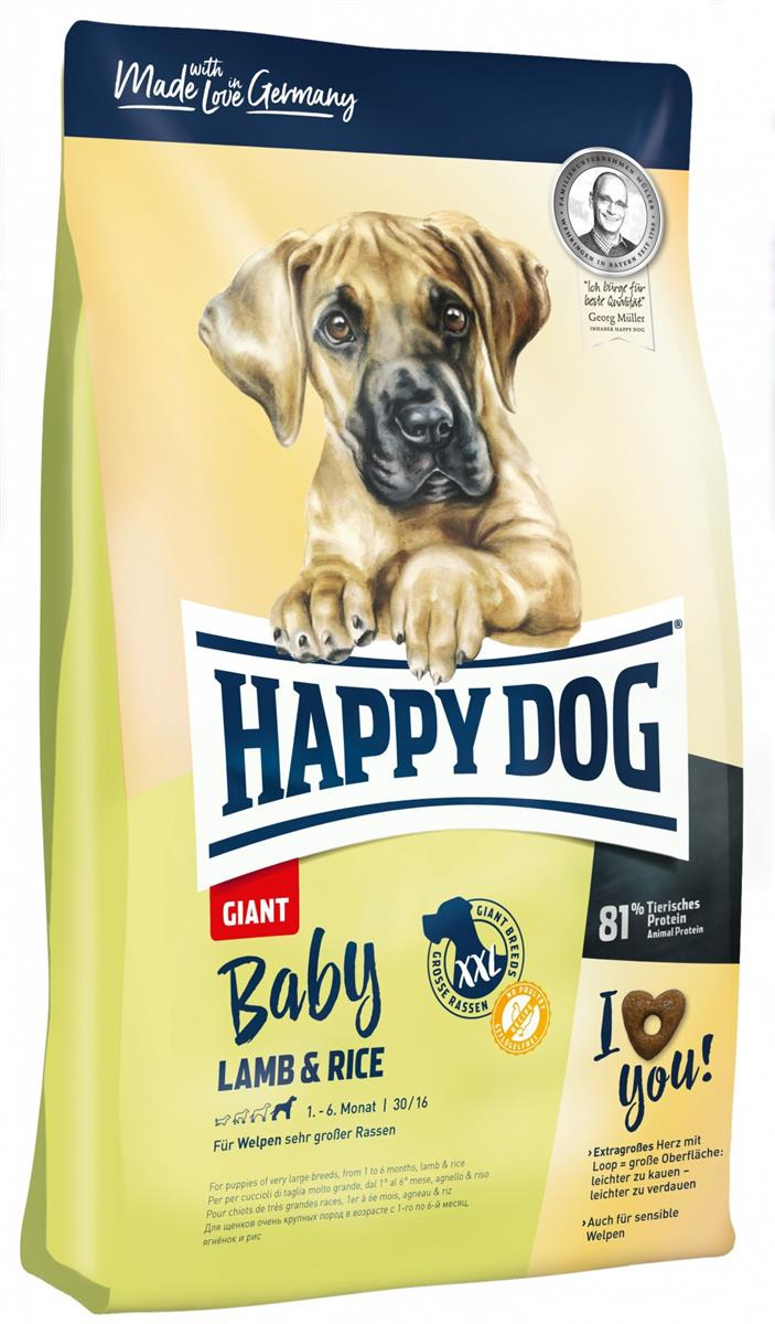 Happy Dog Supreme Young Giant Baby Lam & Ris 15Kg