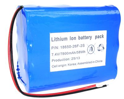 Li-Ion 18650-26F-2S (7,4V-7800mAh)